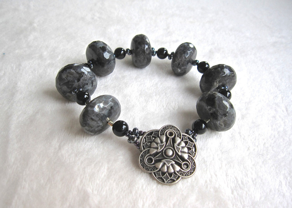 Larvakia and Onyx Bracelet-SugarJewlz Handmade Jewelry