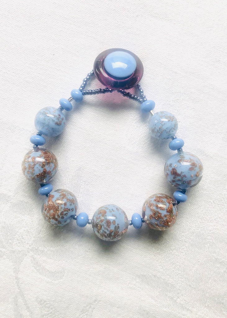 Periwinkle with Gold Fleck Venetian Glass Bracelet-SugarJewlz Handmade Jewelry