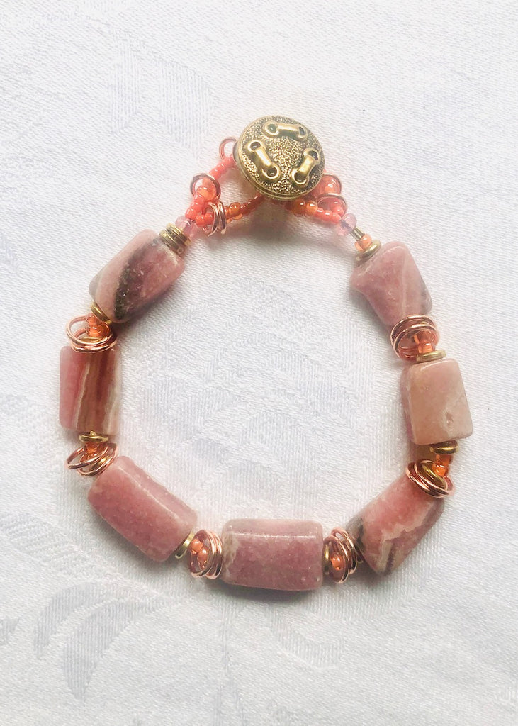 Rhodonite and Copper Rings Bracelet-SugarJewlz Handmade Jewelry