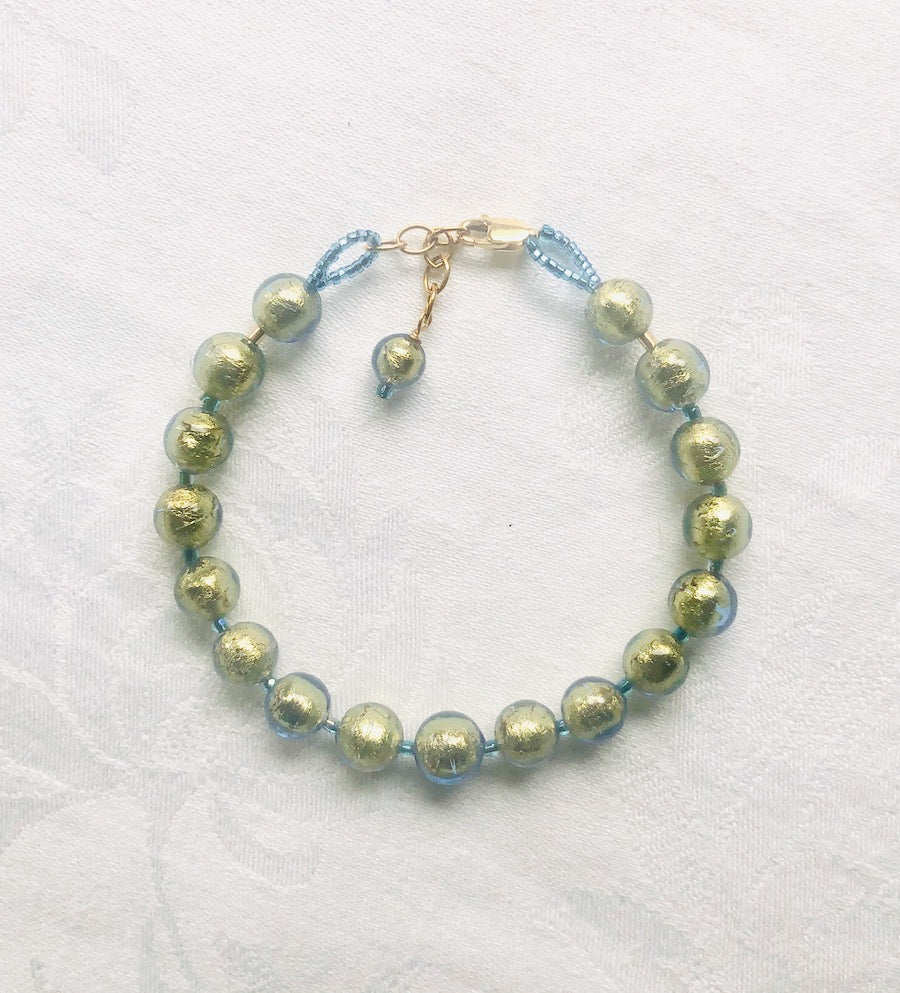 Blue with Gold Venetian Glass Bracelet-SugarJewlz Handmade Jewelry