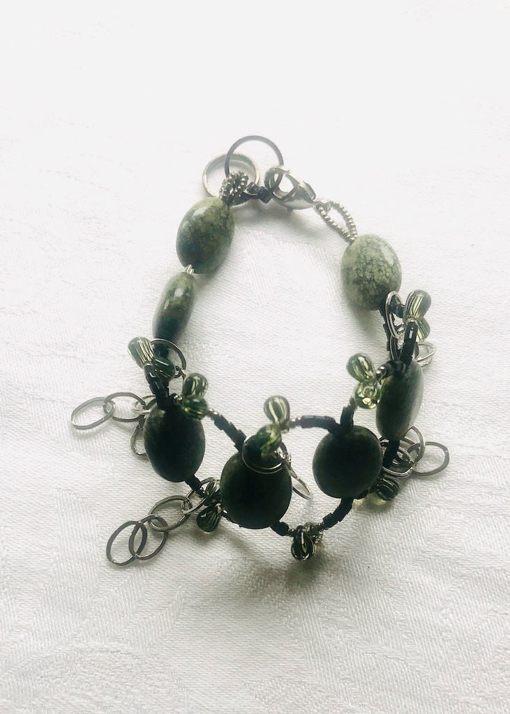 Green Agate Woven with Chain Bracelet-SugarJewlz Handmade Jewelry