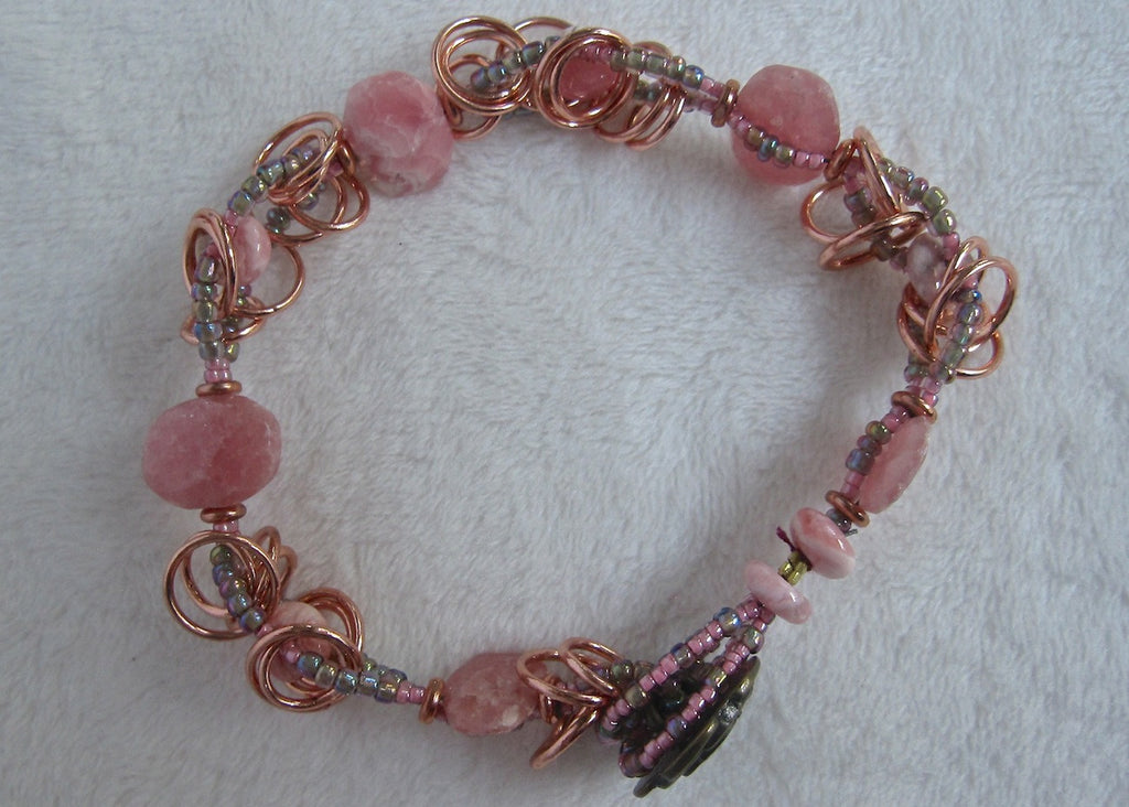 Rodocrosite with Copper Rings Bracelet-SugarJewlz Handmade Jewelry