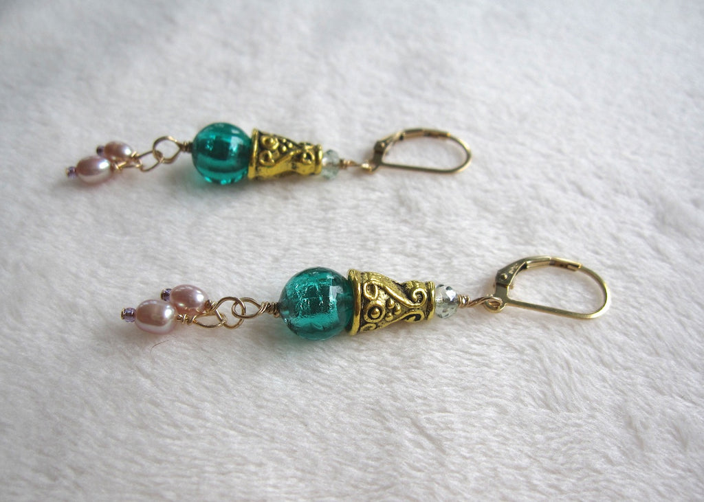 Venetian Glass and Pearls with Brass Bead Caps Earrings-SugarJewlz Handmade Jewelry