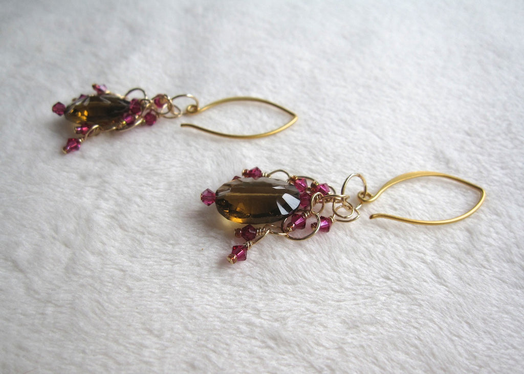 Champagne Quartz and Swarovski Crystal Earrings-SugarJewlz Handmade Jewelry
