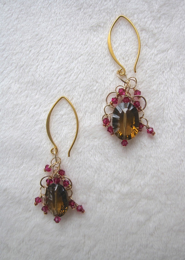 Quartz and Swarovski Crystal Earrings-SugarJewlz Handmade Jewelry