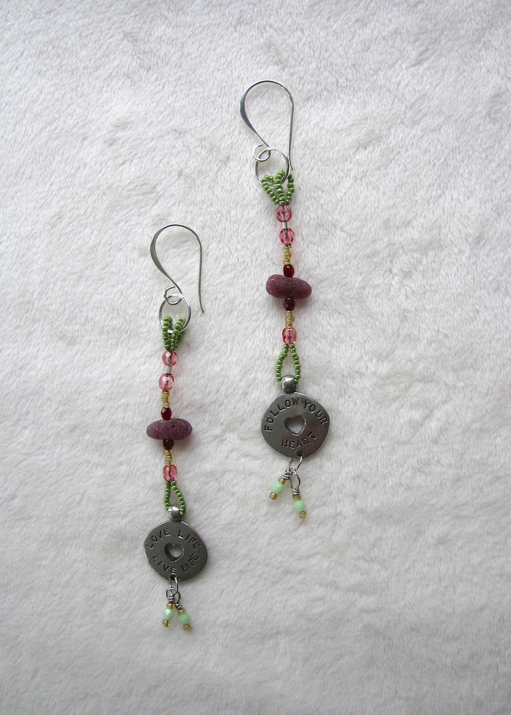 Rough Ruby with Charm Earrings-SugarJewlz Handmade Jewelry