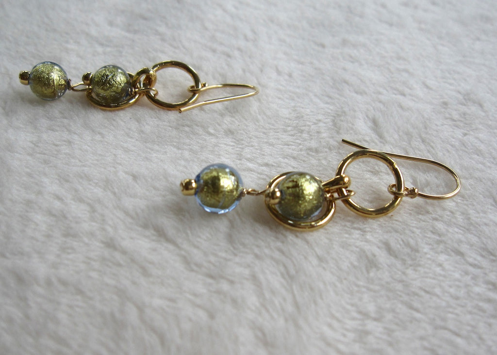 Blue Venetian Glass with Gold-Filled Rings Earrings-SugarJewlz Handmade Jewelry
