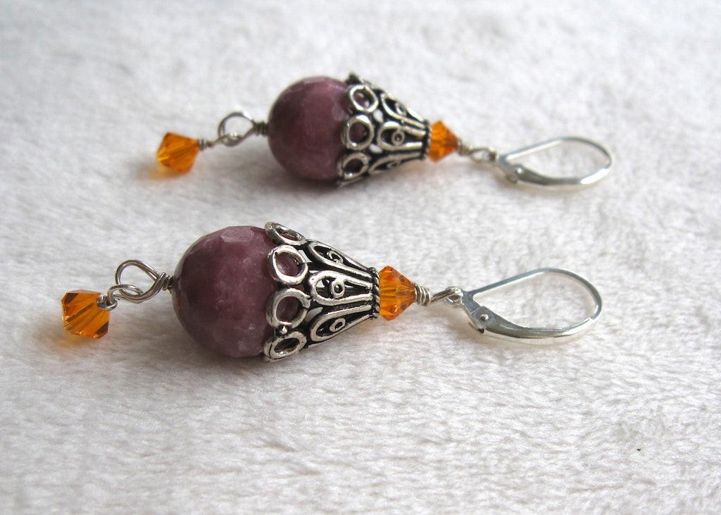 Rodondite with Sterling Silver Bead Cap Earrings-SugarJewlz Handmade Jewelry