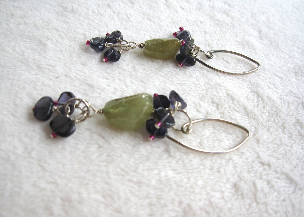 Green Garnet and Ioloite Earrings-SugarJewlz Handmade Jewelry