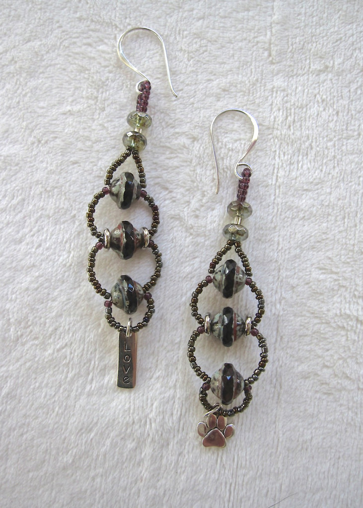 Woven Glass Charm Earrings-SugarJewlz Handmade Jewelry