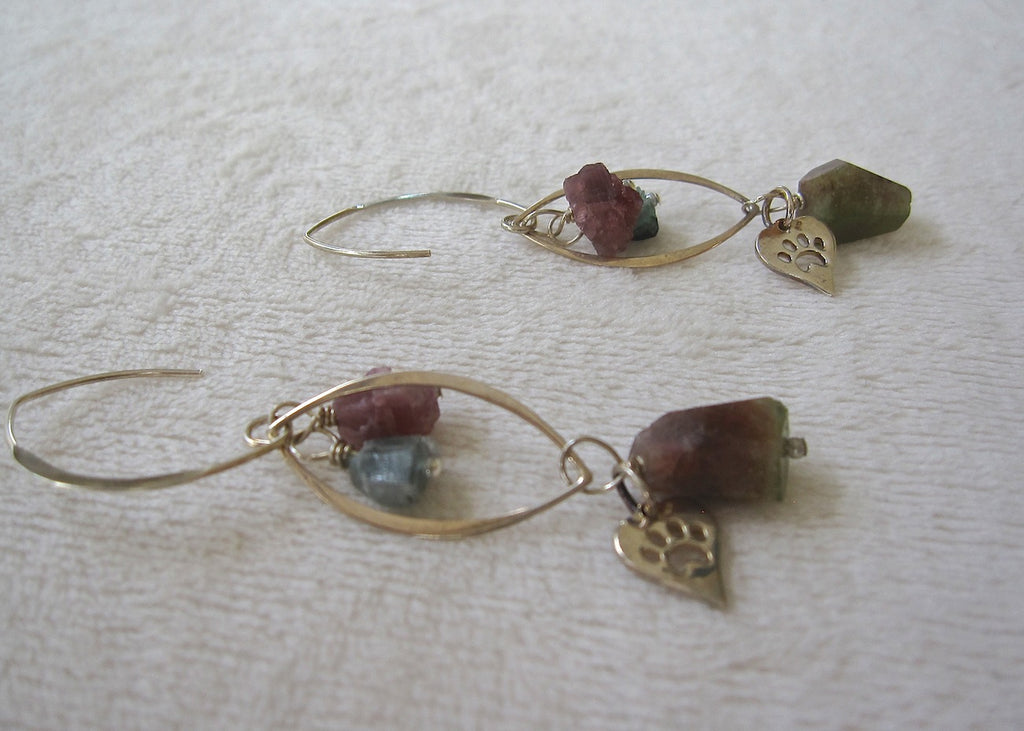 Sterling Silver Cages with Tourmaline and Paw Prints Earrings-SugarJewlz Handmade Jewelry