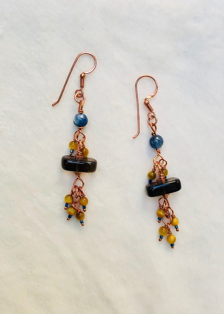 Smokey Quartz with Kyanite,Tiger Eye and Copper Earrings-SugarJewlz Handmade Jewelry