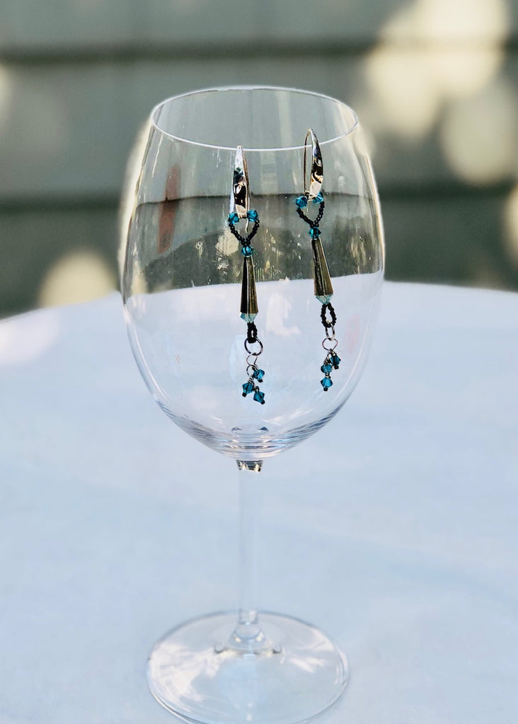 Sterling Silver Cones with Blue Swarovski Crystals Earrings-SugarJewlz Handmade Jewelry