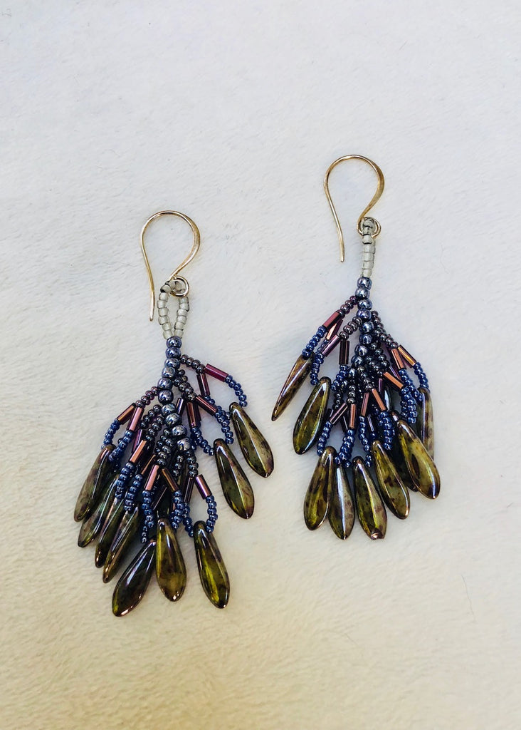 Stitches Tassel of Glass Daggers Earrings-SugarJewlz Handmade Jewelry