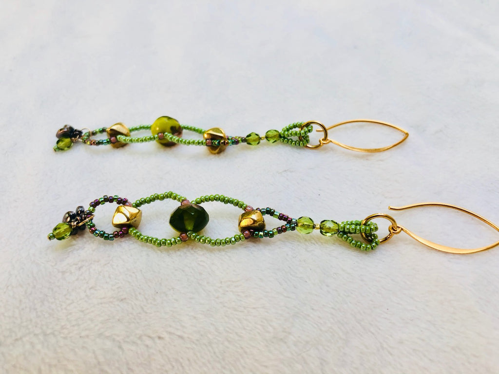 Olive Glass and Brass Charm Earrings-SugarJewlz Handmade Jewelry