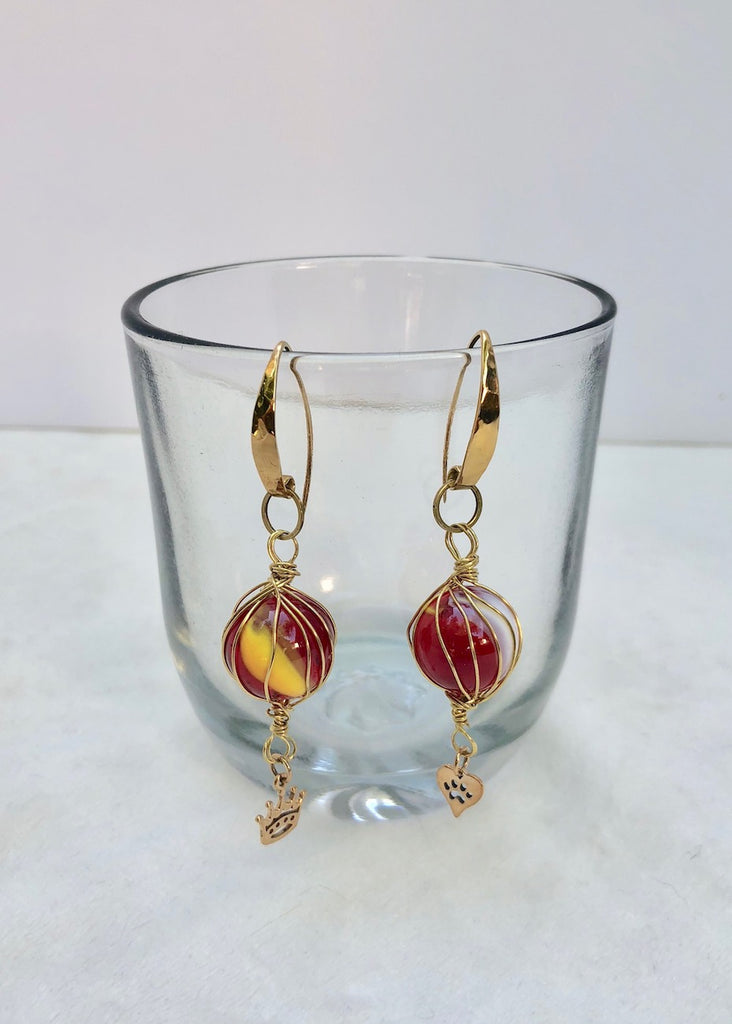 Yellow and Red Swirl Marbles with Charms Earrings-SugarJewlz Handmade Jewelry
