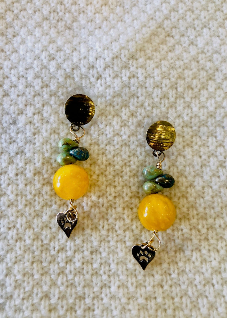 Yellow Round Agate with Paw Print Hearts Earrings-SugarJewlz Handmade Jewelry