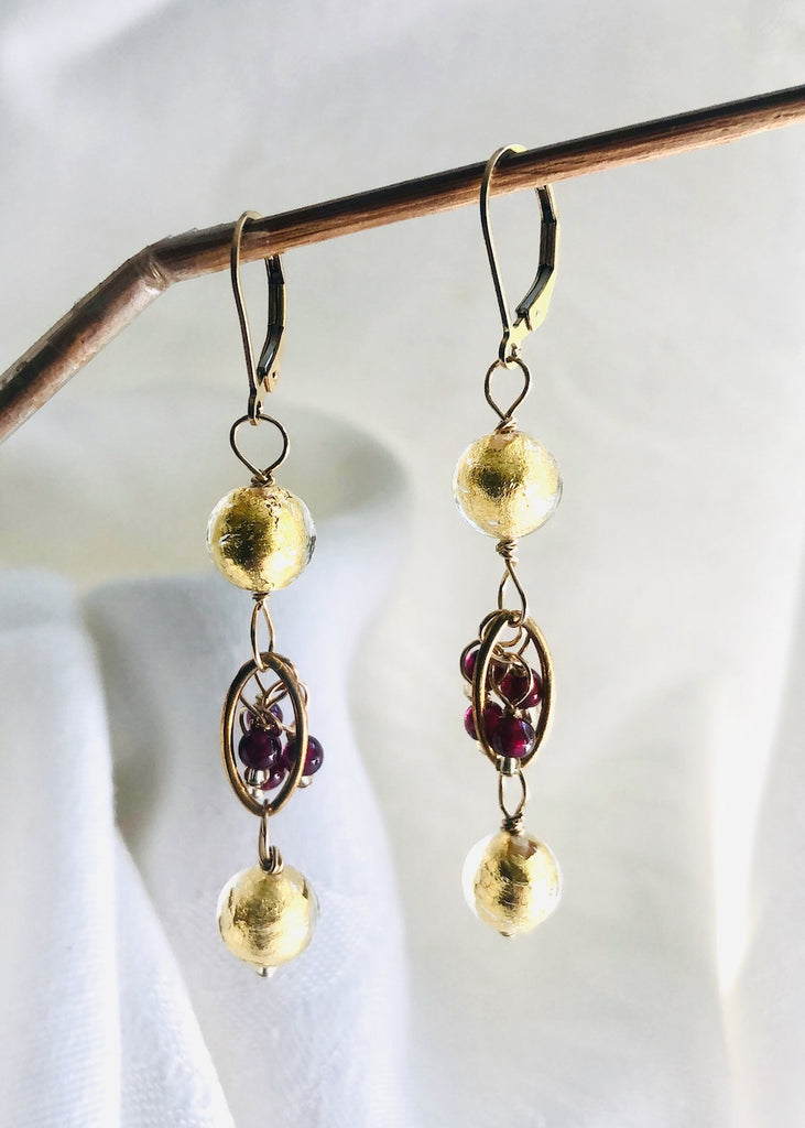 Gold Venetian Glass with Garnet Earrings-SugarJewlz Handmade Jewelry