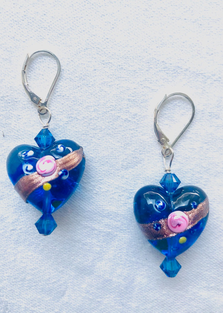 Large Blue Venetian Glass Hearts with Swarovski Crystals Earrings-SugarJewlz Handmade Jewelry