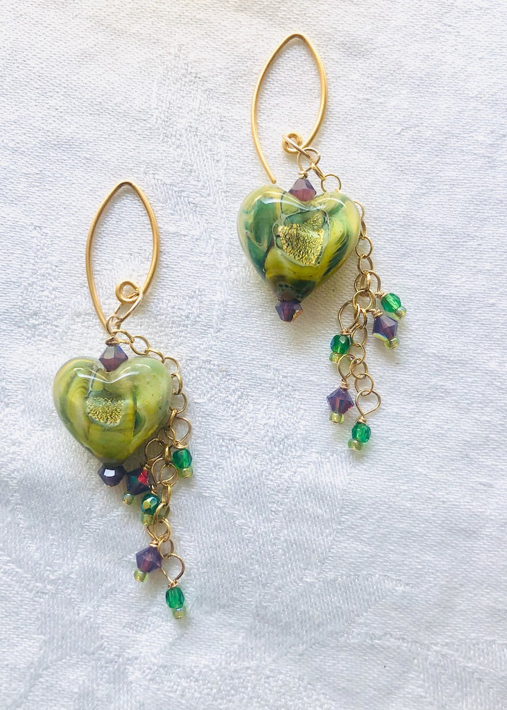 Handmade Green Glass Hearts with Chain and Swarovski Crystals-SugarJewlz Handmade Jewelry