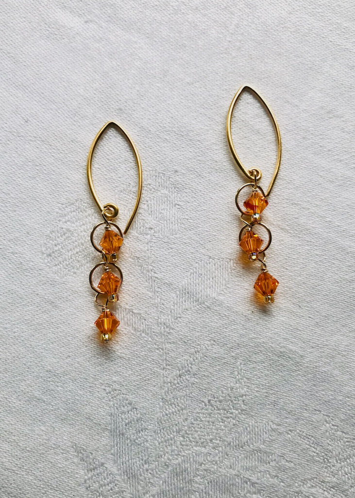 Orange Swarovski Crystal Earrings-SugarJewlz Handmade Jewelry