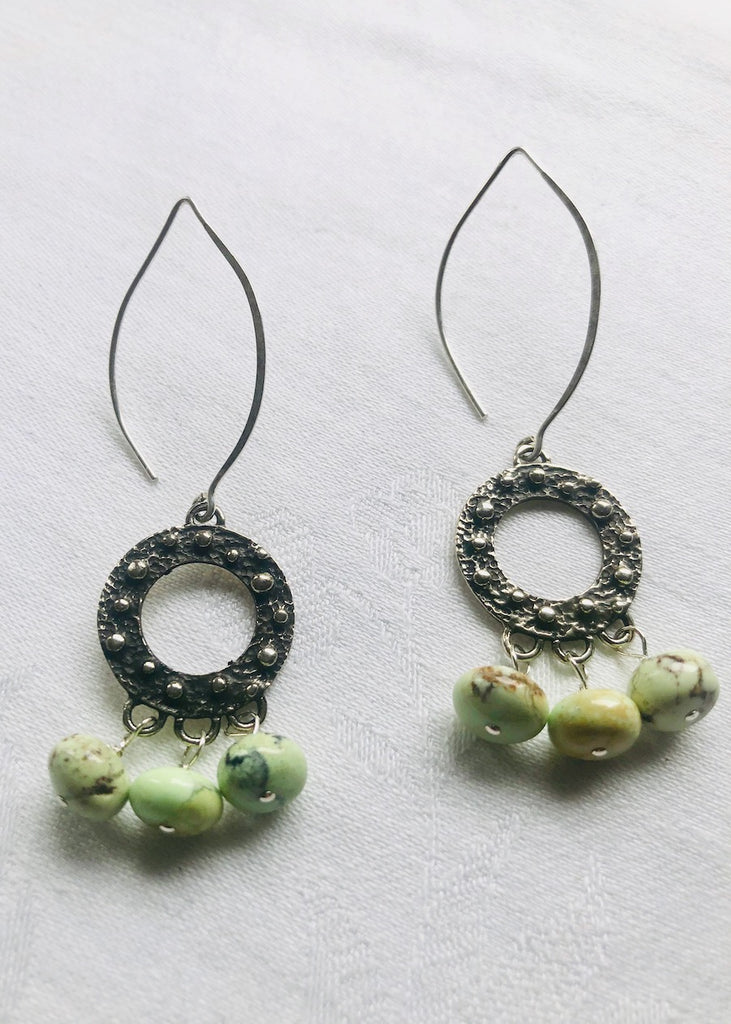 Yellow Chrysoprase and Sterling Silver Frames Earrings-SugarJewlz Handmade Jewelry