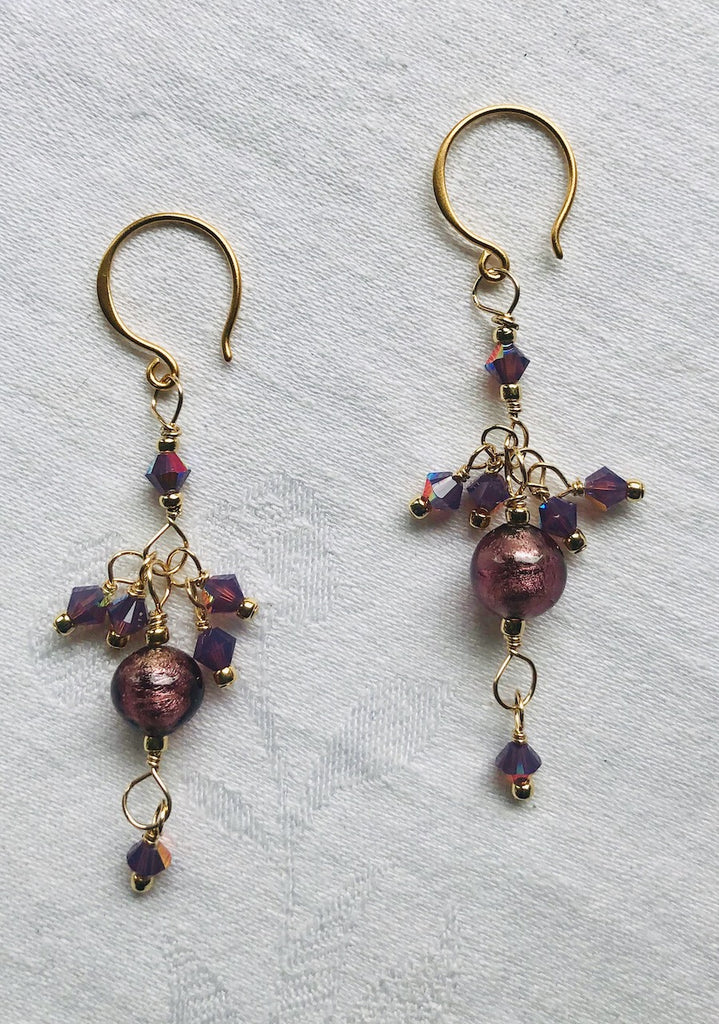Purple Venetian Glass and Swarovski Crystals Earrings-SugarJewlz Handmade Jewelry