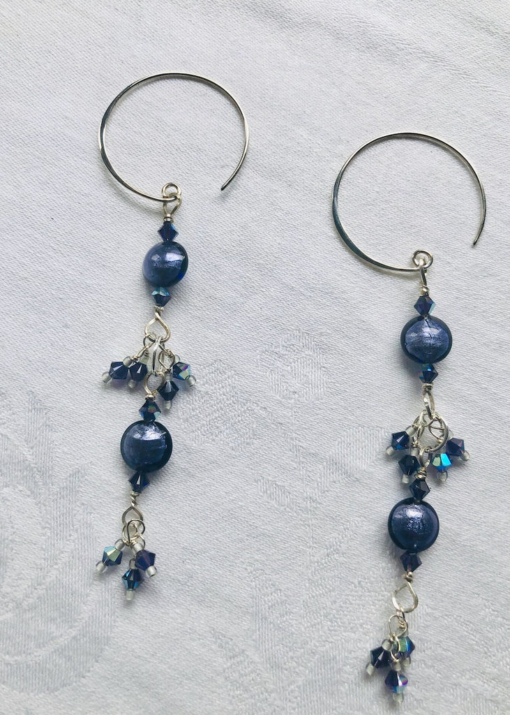 Purple Venetian Lentils with Swarovski Crystals Earrings-SugarJewlz Handmade Jewelry