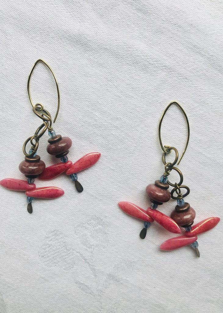 Rhodonite and Glass Daggers Earrings-SugarJewlz Handmade Jewelry
