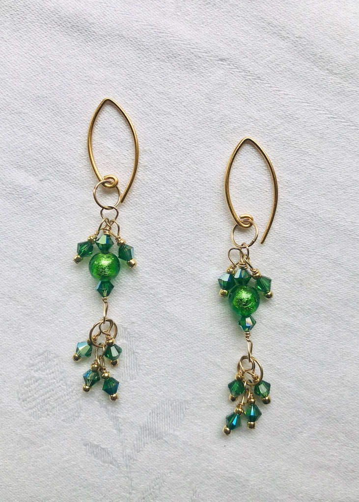 Emerald Venetian Glass and Swarovski Crystal Earrings-SugarJewlz Handmade Jewelry