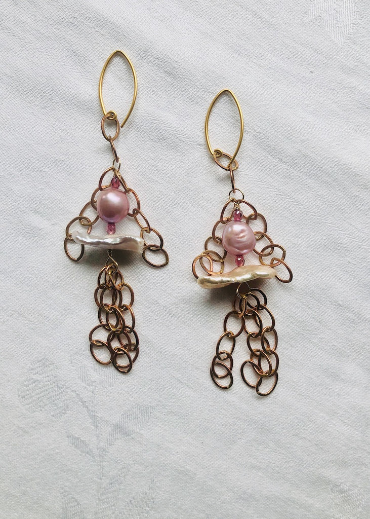 Freshwater Pearls and Copper Chain Earrings-SugarJewlz Handmade Jewelry