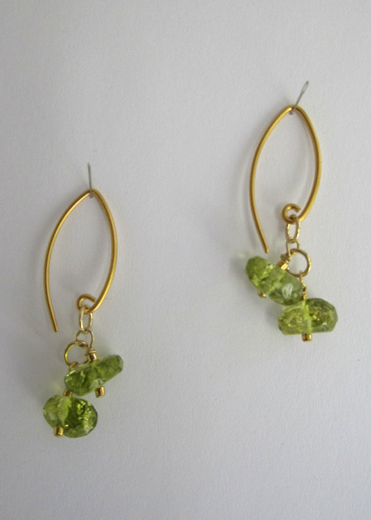 Double Peridot Earrings-SugarJewlz Handmade Jewelry