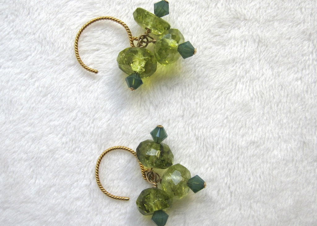 Triple Peridot with Swarovski Earrings-SugarJewlz Handmade Jewelry