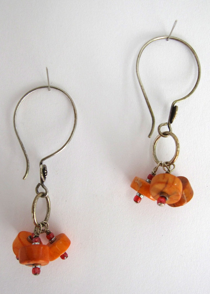 Orange Turqiouse Earrings-SugarJewlz Handmade Jewelry