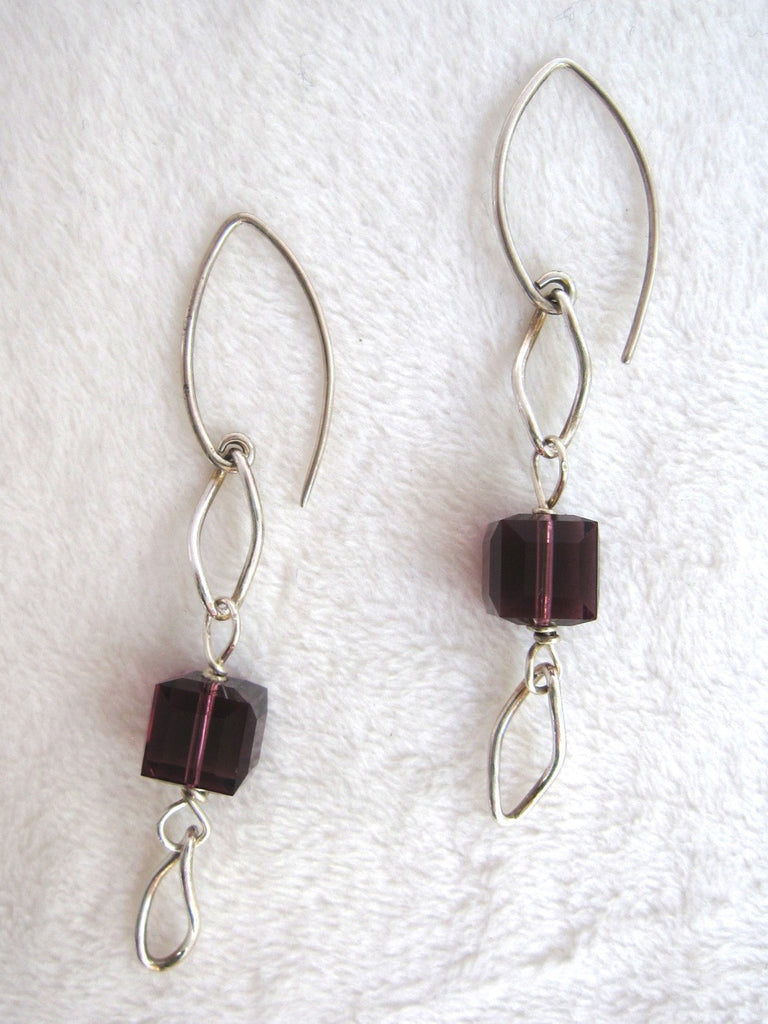 Purple Swarovski Crystal Cube Earrings-SugarJewlz Handmade Jewelry