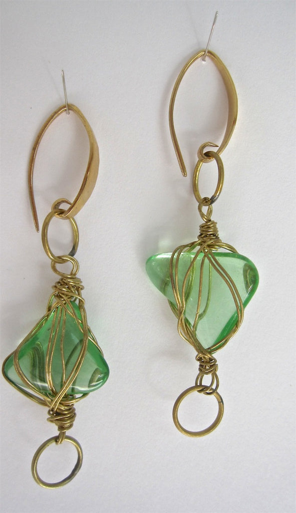 Brass Wrapped Green Glass Earrings-SugarJewlz Handmade Jewelry