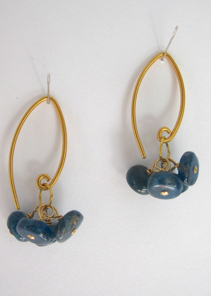 Blue Agate Tassle Earrings-SugarJewlz Handmade Jewelry