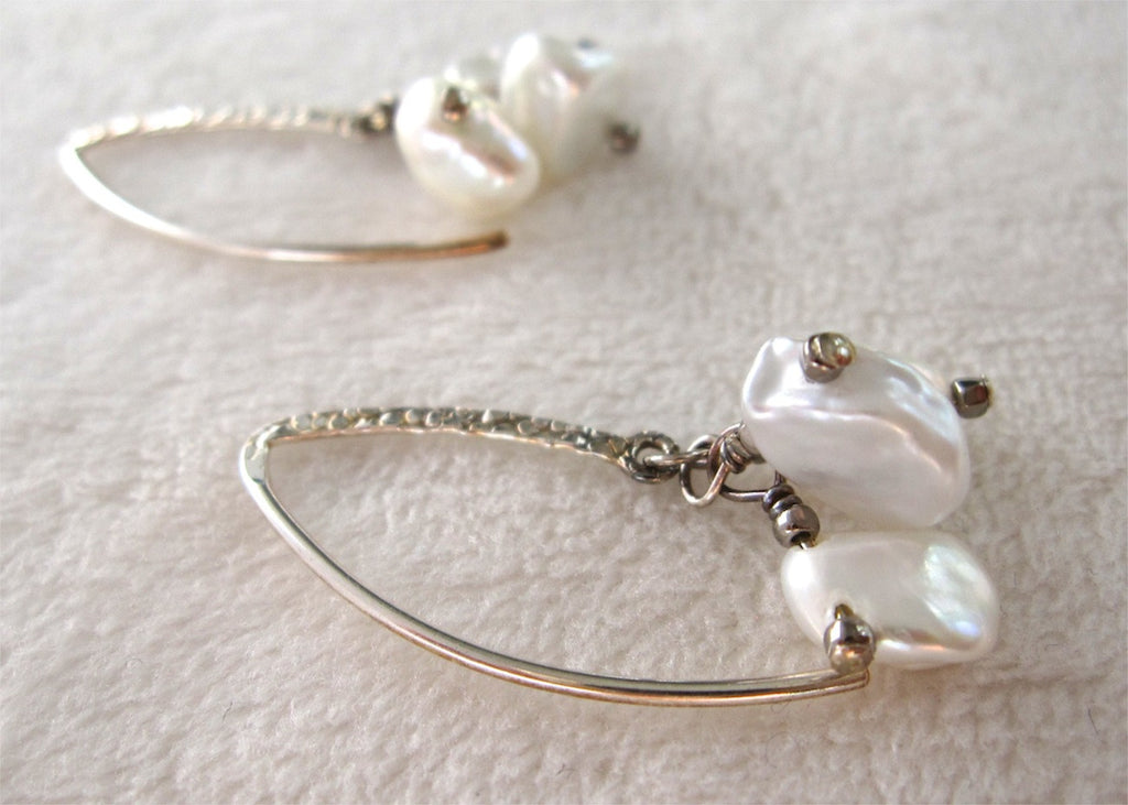 White Freshwater Pearl Earrings-SugarJewlz Handmade Jewelry
