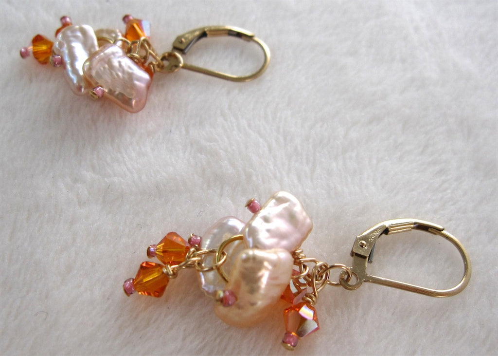 Pink Pearls with Swarovski Crystals Earrings-SugarJewlz Handmade Jewelry