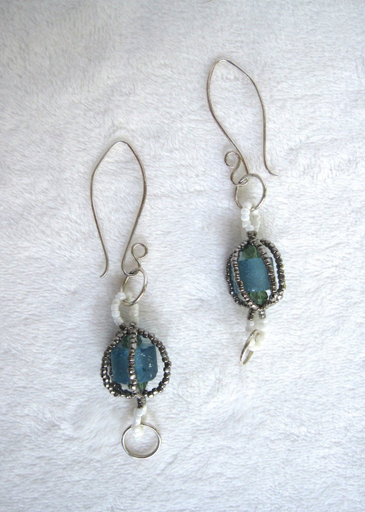 Hand Stitched Recycled Glass Earrings-SugarJewlz Handmade Jewelry