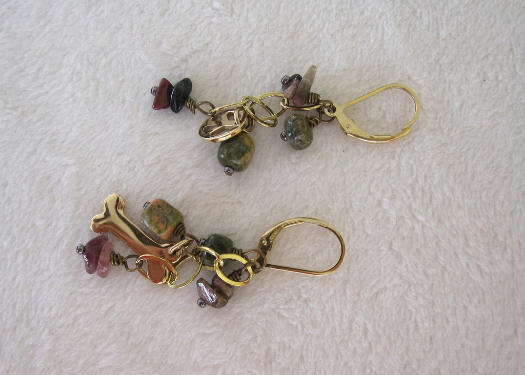 Charms and Gemstone Chips Earrings-SugarJewlz Handmade Jewelry