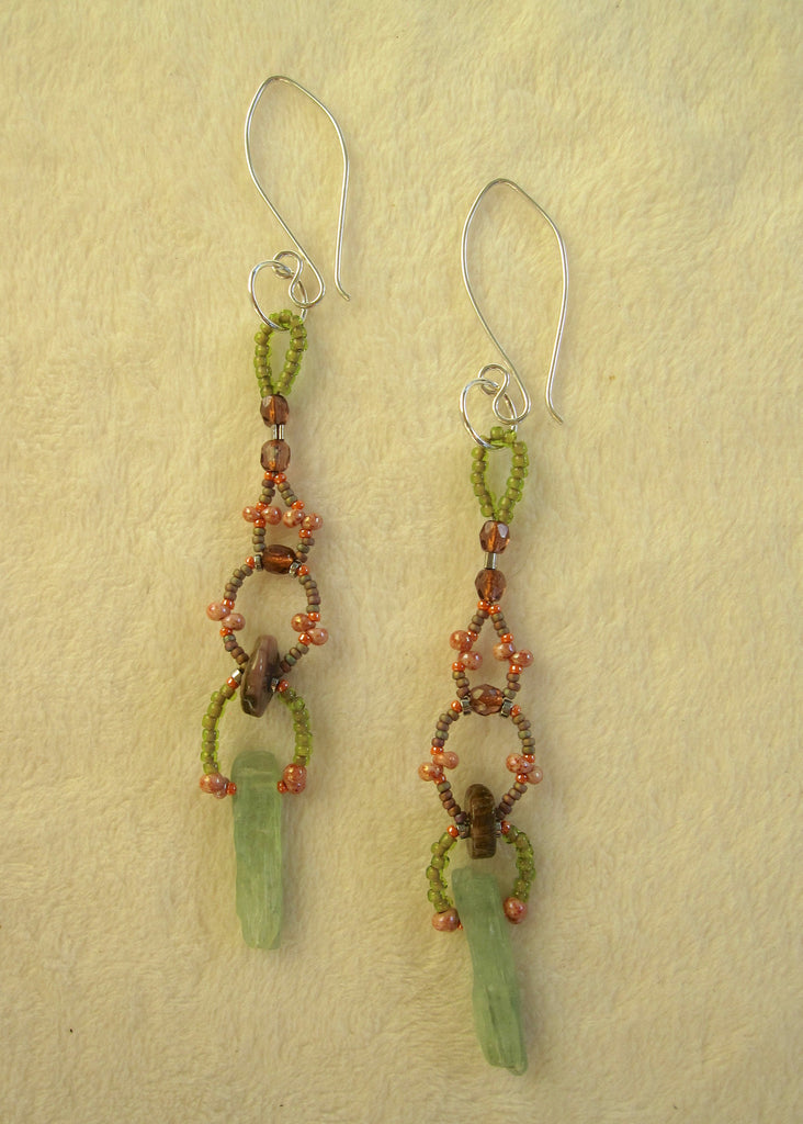 Kyanite Daggers with Tourmaline Earrings-SugarJewlz Handmade Jewelry