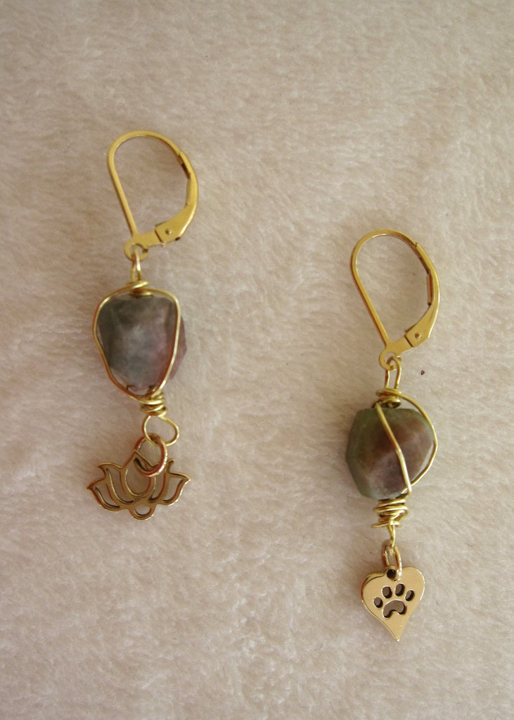 Tourmaline Wrapped in Brass With Charms Earrings-SugarJewlz Handmade Jewelry