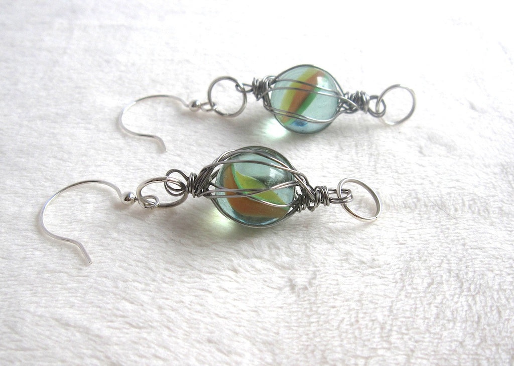 Vintage Swirl Marbles Earrings-SugarJewlz Handmade Jewelry