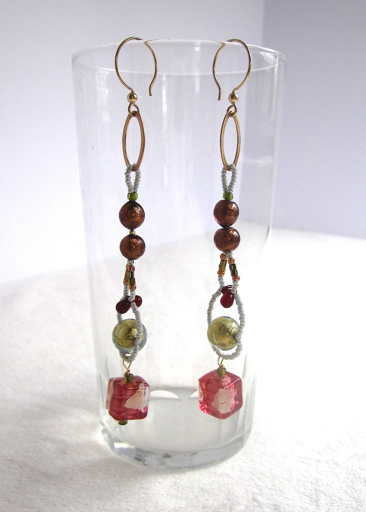 Long Venetian Glass Mix Earrings-SugarJewlz Handmade Jewelry