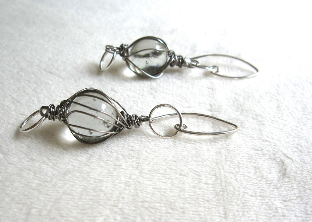 Clear Marble Earrings-SugarJewlz Handmade Jewelry