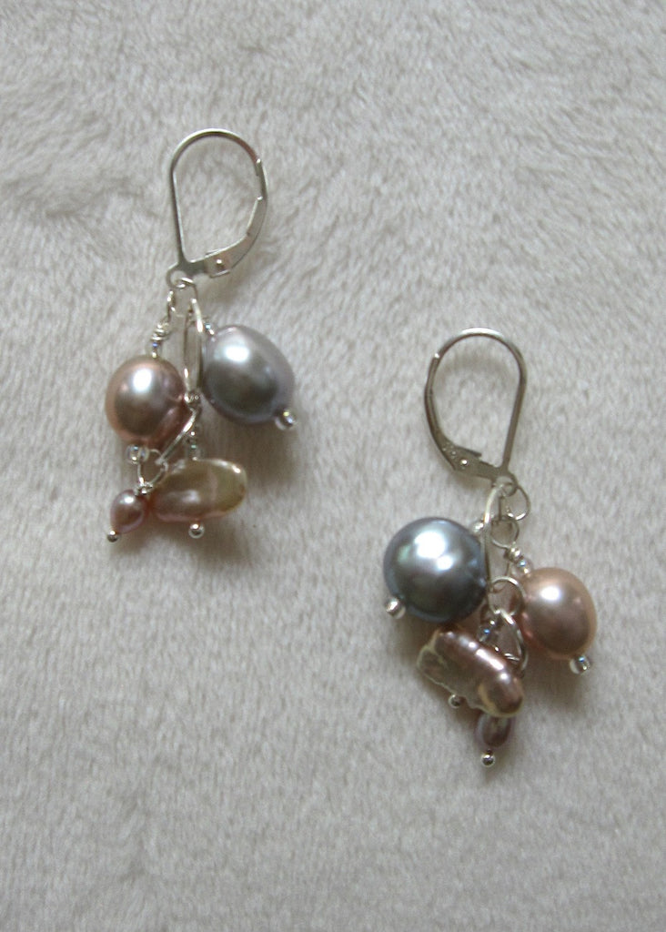 Freshwater Pearls With Sterling Silver Earrings-SugarJewlz Handmade Jewelry