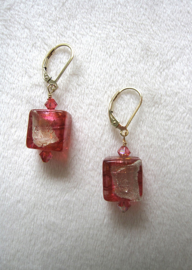 Pink Venetian Glass Cube Earrings-SugarJewlz Handmade Jewelry