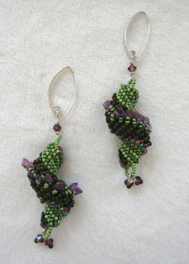Dutch Spiral With Swarovski Crystals Earrings-SugarJewlz Handmade Jewelry