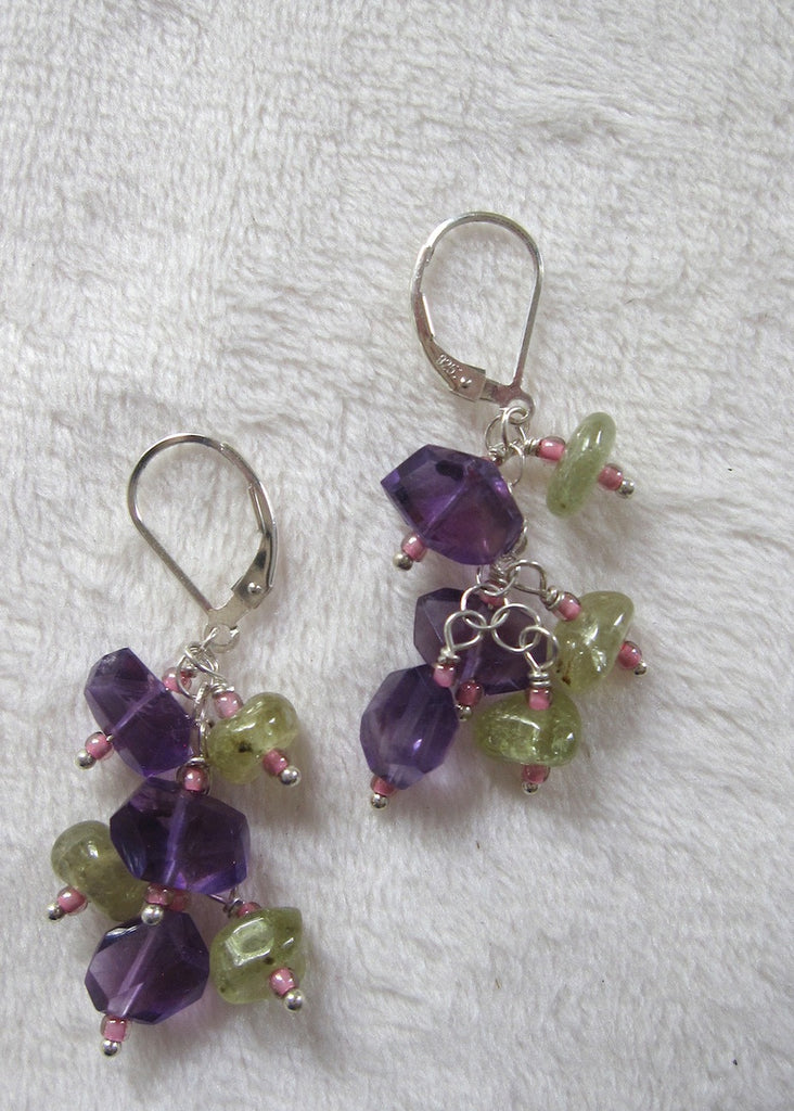 Amethyst and Green Garnet Earrings-SugarJewlz Handmade Jewelry
